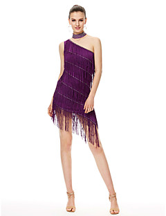 Latin Dance Dresses Women's Performance Chinlon Tassel(s) 1 Piece Sleeveless High Dress