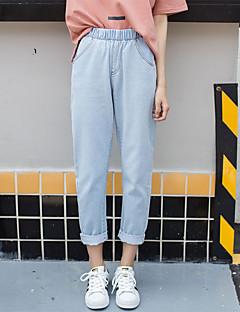 Damer Enkel Løstsiddende Jeans Bukser,Højtaljede Ensfarvet