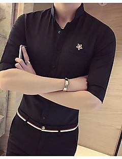 メンズ カジュアル/普段着 シャツ,シンプル ボランダウン ソリッド アクリル ハーフスリーブ