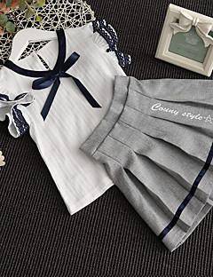 Mädchen Sets Ausgehen Lässig/Alltäglich Gestreift Patchwork Baumwolle Kunstseide Sommer Kurzarm Kleidungs Set