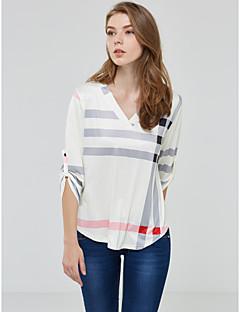 משובץ צווארון V סגנון רחוב מידות גדולות חולצה נשים,קיץ שרוול ארוך כחול לבן בז' שחור בינוני (מדיום) פוליאסטר