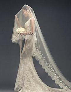 הינומות חתונה שכבה אחת צעיפי קתדרלה אפליקצית קצה תחרה טול