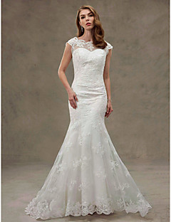 Trumpet / Mermaid Wedding Dress Beautiful Back Court Train Scoop Lace Tulle with Appliques Lace
