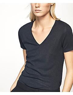T-shirt Da donna Casual Semplice Estate,Tinta unita A V Cotone Manica corta Sottile