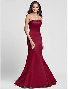 Lanting Bride® Floor-length Satin Lace-up Bridesmaid Dress - Trumpet / Mermaid Strapless Plus Size / Petite with Side Draping