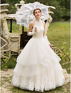 Ball Gown Wedding Dress - Elegant & Luxurious Sparkle & Shine Floor-length High Neck Tulle with Appliques Beading