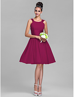 Lanting Bride® Knee-length Chiffon / Stretch Satin Bridesmaid Dress - A-line Straps Plus Size / Petite with Draping / Ruching