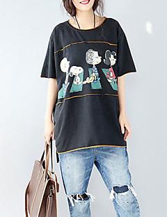 Mujer Simple Casual Camiseta,Escote Redondo Un Color Estampado 3/4 Manga Algodón