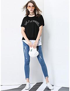 Feminino Camiseta Diário Casual Para Noite Simples Primavera Verão,Carta e Número Poliéster Decote Redondo Manga Curta Transparente Fina