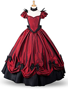 One-Piece/Dress Classic/Traditional Lolita Victorian Cosplay Lolita Dress Red Solid Color Floor-length Skirt Bow For Padded Fabric