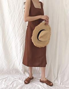 여성 A 라인 드레스 스포츠 도트무늬,라운드 넥 무릎길이 짧은 소매 면 여름 중간 밑위 약간의 신축성 중간