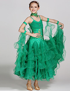 Dětské taneční kostýmy Šaty Dětské Taneční vystoupení Spandex Tyl 2 kusy Bez rukávů Přírodní Šaty Neckwear
