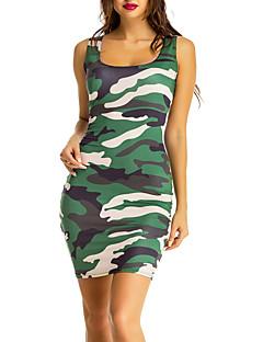 Для женщин На выход На каждый день Простое Уличный стиль Облегающий силуэт Платье Контрастных цветов Камуфляж,U-образный вырез МиниБез