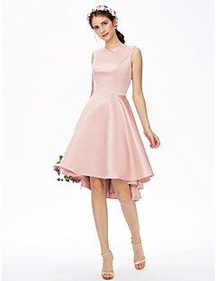 LAN TING BRIDE א-סימטרי כתפיה אחת שמלה לשושבינה  - אלגנטי גב פתוח ללא שרוולים סאטן