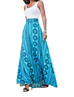 여성 칼집 드레스 캐쥬얼/데일리 심플 기하학 프린트,스트랩 맥시 민소매 면 여름 높은 밑위 스트레치 얇음