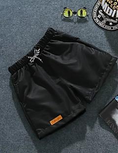 Herre Enkel Uelastisk Shorts Bukser,Løstsittende Mellomhøyt liv Ren Farge Overstørrelse