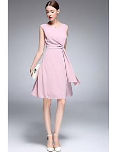 Kadın Sevimli A Şekilli Elbise Solid,Kolsuz Yuvarlak Yaka Diz-boyu Polyester Tafta Bahar Yaz Normal Bel Mikro-Esnek İnce