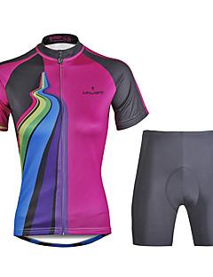 חולצת ג'רסי ומכנס קצר לרכיבה בגדי ריקוד נשים לנשים שרוולים קצרים אופניים מדים בסטיםייבוש מהיר עמיד אולטרה סגול דחיסה חומרים קלים 3D לוח
