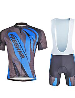 חולצת ג'רסי ומכנס קצר ביב לרכיבה בגדי ריקוד גברים לגברים שרוולים קצרים אופניים מדים בסטיםרכיבה על אופניים ייבוש מהיר עמיד אולטרה סגול