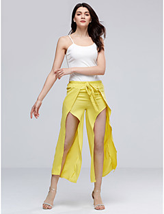 Women's Wide Leg Sexy Strape Sleeveless Solid Color Thigh Split Wide Leg Pants Clothing Sets(Strape Tee & Pants)