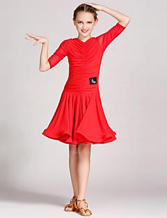 ריקוד לטיני שמלות בגדי ריקוד ילדים אימון טול ויסקוזה קפלים חלק 1 חצי שרוול טבעי שמלה
