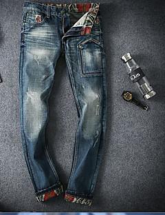 Męskie Prosty Średnio elastyczny/a Jeansy Spodnie,Średni stan Prosta,Czysta Kolor Jendolity kolor
