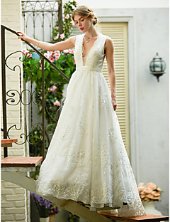 A-Line Plunging Neckline Sweep / Brush Train Lace Tulle Wedding Dress with Appliques Sash / Ribbon by LAN TING BRIDE®