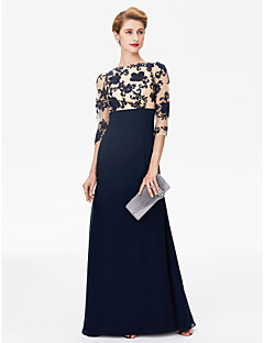 Sheath / Column Bateau Neck Floor Length Chiffon Lace Mother of the Bride Dress with Lace by LAN TING BRIDE®