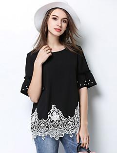 Damen Solide Einfach T-shirt,Rundhalsausschnitt ½ Länge Ärmel Polyester