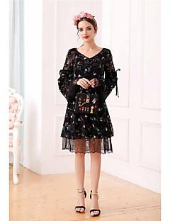 UNE FLEURWomen's Casual/Daily A Line DressPrint V Neck Knee-length Long Sleeve Polyester Summer High Rise Micro-elastic Thin
