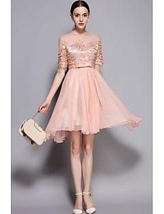 Kadın Sevimli Çan Elbise Nakışlı,½ Kol Uzunluğu Yuvarlak Yaka Diz üstü Polyester Tafta Bahar Yaz Normal Bel Mikro-Esnek İnce