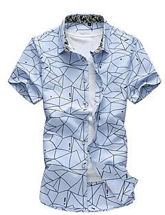 Для мужчин Повседневные Лето Рубашка Воротник-стойка,Простое Однотонный С принтом С короткими рукавами,Хлопок,Тонкая