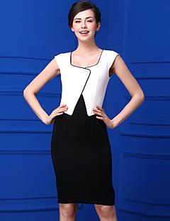 Kadın Günlük/Sade Sade Kılıf Elbise Zıt Renkli,Kolsuz Kare Yaka Diz-boyu Polyester Yaz Normal Bel Mikro-Esnek Orta