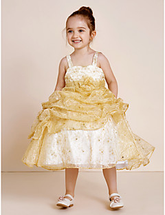 Ball Gown Tea Length Flower Girl Dress - Polyester Strap with Beading Flower(s) Pick-Up