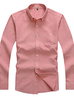Heren Eenvoudig Alle seizoenen Lente Overhemd,Casual/Dagelijks Werk Effen Overhemdkraag Lange mouw Katoen Polyester Medium