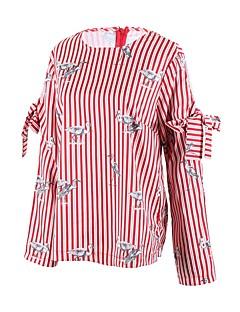Dames Street chic Zomer Herfst T-shirt,Dagelijks Causaal Uitgaan Gestreept Opdrukken Ronde hals Lange mouw Katoen Polyester Medium