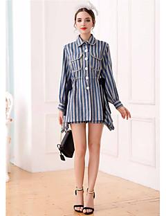 UNE FLEURWomen's Casual/Daily Shirt DressStriped Color Block Shirt Collar Above Knee Long Sleeve Cotton Polyester Spring Summer High Rise