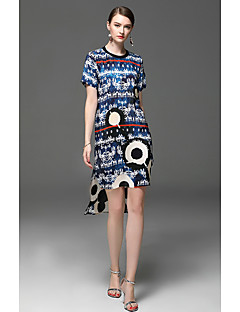 Kadın Dışarı Çıkma Günlük/Sade Çalışma Kombinezon Elbise Desen,Kısa Kollu Yuvarlak Yaka Diz üstü Suni İpek Bahar Yaz Normal Bel Esnemez