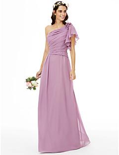LAN TING BRIDE עד הריצפה כתפיה אחת שמלה לשושבינה  - פרחוני ללא שרוולים שיפון