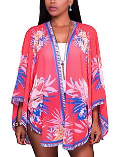여성 플로럴 셔츠 카라 긴 소매 셔츠,보호 비치 폴리에스테르 스판덱스 여름 얇음
