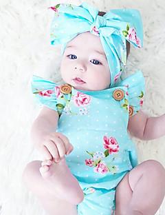 bebê Peça Única Fashion Estampado Vintage Verão Algodão Sem Manga