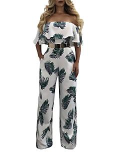 여성 섹시 빈티지 보호 데이트 캐쥬얼/데일리 휴일 점프 수트,와이드 레그 높은 밑위 패션 러플 뒷면이 없는 스타일 스프링 여름 프린트 빈티지