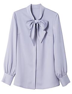 Enfärgad Långärmad Kontor/Karriär Casual Skjorta,Vintage Enkel Dam Peter Pan-krage Polyester