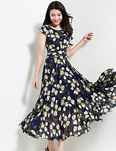 Damen Chiffon Swing Kleid-Party Ausgehen Lässig/Alltäglich Retro Boho Blumen Rundhalsausschnitt Maxi Kurzarm Polyester ChiffonFrühling