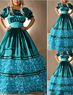 One-Piece/Dress Gothic Lolita Lolita Cosplay Lolita Dress Blue Vintage Cap Short Sleeves Floor-length Dress For Other