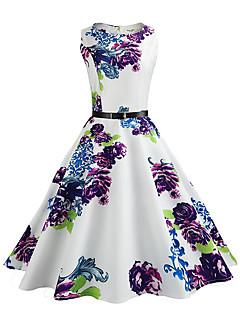 Kadın Günlük/Sade Tatil Vintage Sokak Şıklığı Çan Elbise Çiçekli,Kolsuz Yuvarlak Yaka Diz-boyu Polyester Yaz Normal Bel Esnemez İnce