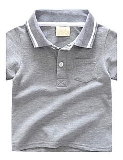Barn T-skjorte Helfarve Fargeblokk Bomull Sommer Kortermet Normal