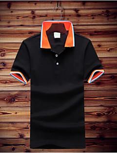 Bomull Kortermet,Skjortekrage Polo Ensfarget Enkel Daglig Avslappet Herre