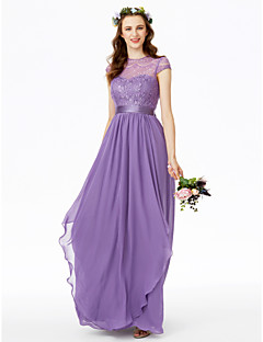 A-Line Jewel Neck Floor Length Chiffon Lace Bridesmaid Dress with Bow(s) Lace Sash / Ribbon Pleats by LAN TING BRIDE®