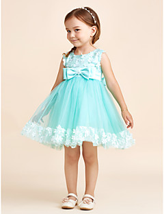 Princess Short / Mini Flower Girl Dress - Polyester Tulle Sleeveless Scoop Neck with Bow(s)